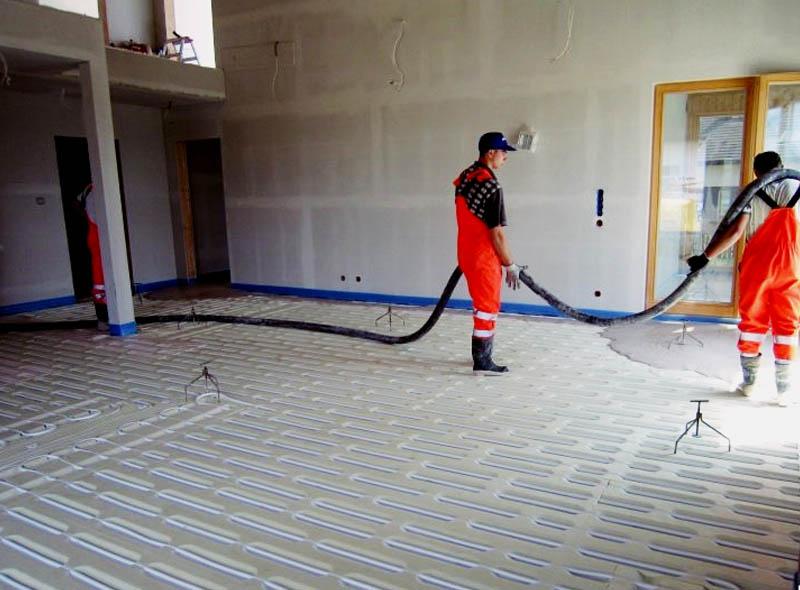 Wylewka anhydrytowa ogrzewania podłogowego